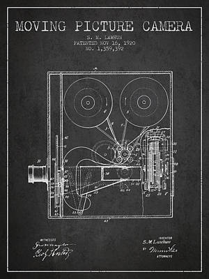 1920 Moving Picture Camera Patent - Charcoal Art Print