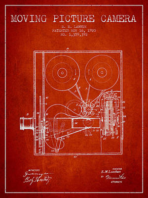 Vintage Camera Digital Art - 1920 Moving Picture Camera Patent - Red by Aged Pixel