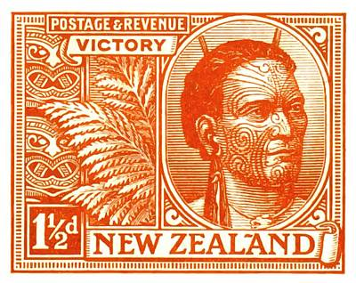 Stamp Digital Art - 1920 New Zealand Maori Chief Postage Stamp by Retro Graphics