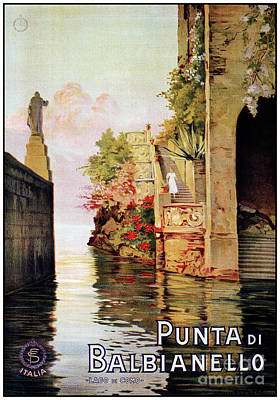 Lake Como Drawing - 1920 Romantic Lenno Lake Como by Aapshop