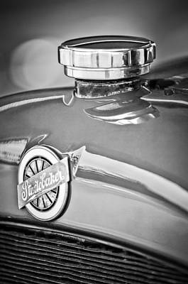 Photograph - 1920 Studebaker Eg Big-six Sedan Emblem -2456bw by Jill Reger