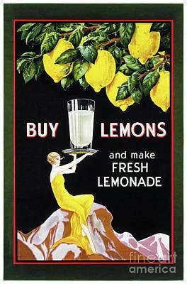 Lemon Mixed Media - 1920 Vintage Grocery Lemonade Poster Restored by Carsten Reisinger