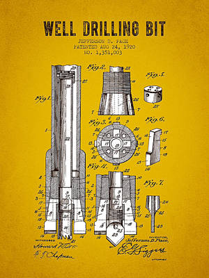 Pop Art Rights Managed Images - 1920 Well Drilling Bit Patent - Yellow Brown Royalty-Free Image by Aged Pixel