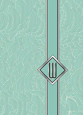 1920s Blue Deco Jazz Swing Monogram ...letter W Art Print