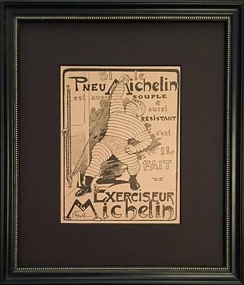 1920s Framed French Michelin Car Tires Advertisement, Bibendum Original by O'Gallop