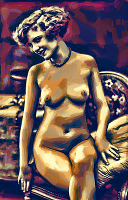 Digital Art - 1920s Nude In Gouache by John Haldane