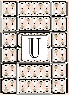 Shower Digital Art - 1920s Pink Champagne Deco Monogram  U by Cecely Bloom