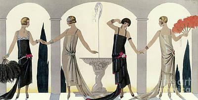 1920s Women In Evening Dress Art Print