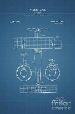 Automotive Drawing - 1921 Aeroplane Patent Art Ortgier 2 by Nishanth Gopinathan