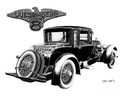 1921 Duesenberg Art Print by Peter Piatt