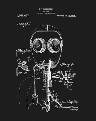 Drawing - 1921 Gas Mask Patent by Dan Sproul