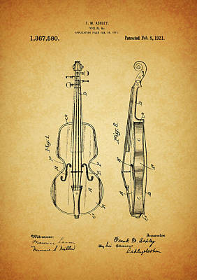 Musicians Drawings Rights Managed Images - 1921 Violin Patent Design Royalty-Free Image by Dan Sproul