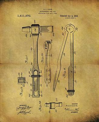 Drawing - 1922 Blacksmith Tools Patent by Dan Sproul