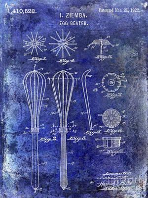 Beaters Photograph - 1922 Egg Beater Patent Blue by Jon Neidert