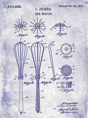 Beaters Photograph - 1922 Egg Beater Patent Blueprint  by Jon Neidert
