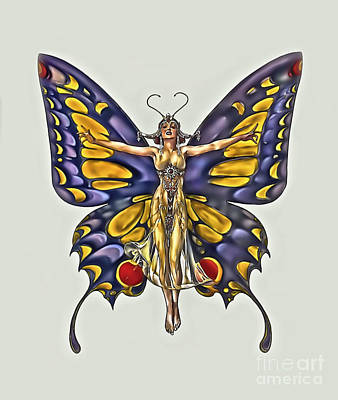 1922 Flapper Butterfly Art Print by Walt Foegelle