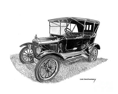 Painting - 1922 Ford Model T Touring Sedan by Jack Pumphrey