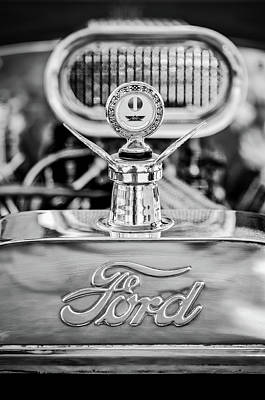Photograph - 1922 Ford T-bucket Hood Ornament - Emblem -0630bw by Jill Reger