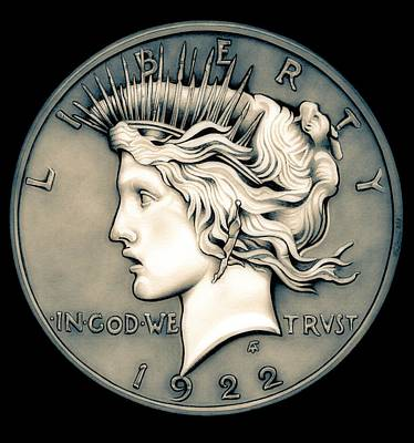 Drawing - 1922 Ghost Peace Dollar by Fred Larucci
