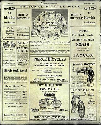 Schwinn Wall Art - Photograph - 1922 National Bicycle Week Ad by Jon Neidert