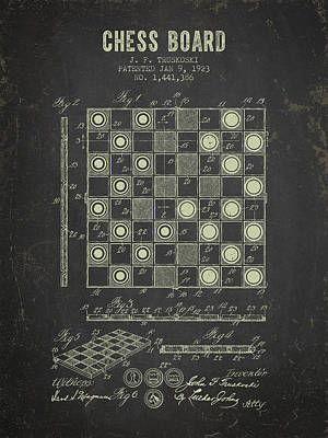 1923 Chess Board Patent - Dark Grunge Art Print by Aged Pixel