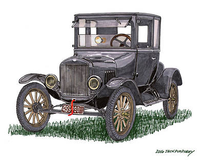 Painting - 1923 Ford Model T Coupe by Jack Pumphrey