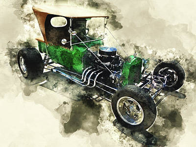 Historic Vehicle Mixed Media - 1923 Ford T-bucket by Kevin O'Hare