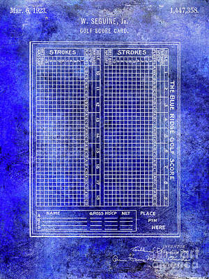 1923 Golf Score Card Patent Blue Print by Jon Neidert