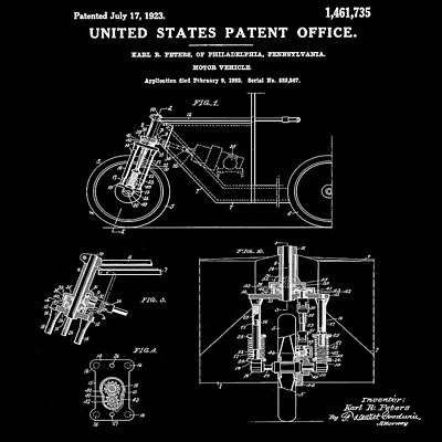 Photograph - 1923 Motorcycle Patent In Black by Bill Cannon