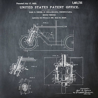 Sepia Chalk Photograph - 1923 Motorcycle Patent In Chalk by Bill Cannon