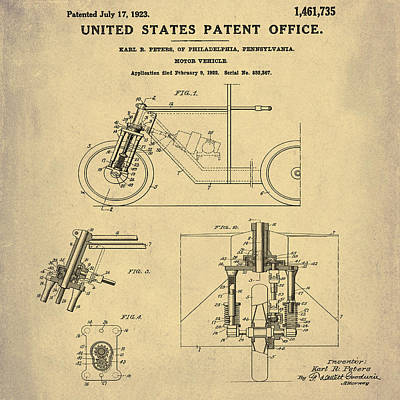 Photograph - 1923 Motorcycle Patent In Sepia by Bill Cannon