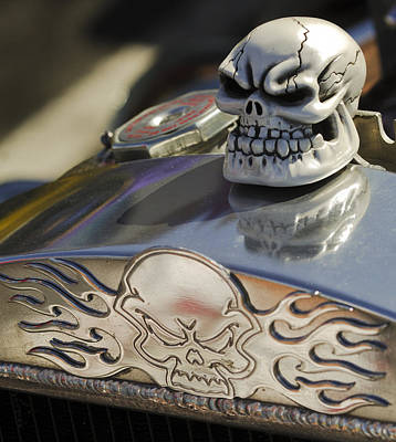 Chrome Skull Photograph - 1923 T-bucket Skull Hood Ornament by Jill Reger