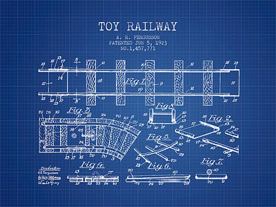 Train Drawing - 1923 Toy Railway Patent - Blueprint by Aged Pixel