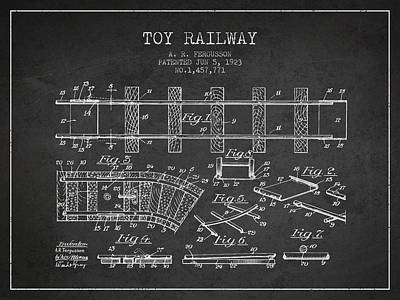 Transportation Digital Art Rights Managed Images - 1923 Toy Railway Patent - Charcoal Royalty-Free Image by Aged Pixel