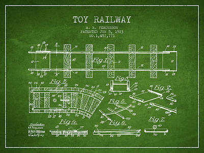 Train Drawing - 1923 Toy Railway Patent - Green by Aged Pixel