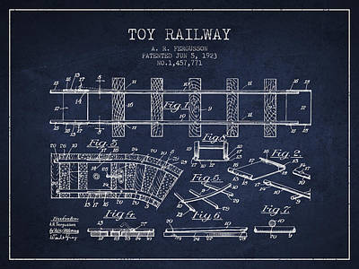 Train Drawing - 1923 Toy Railway Patent - Navy Blue by Aged Pixel