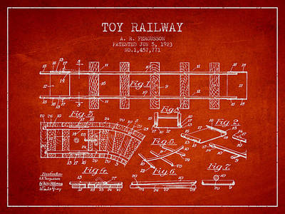 Transportation Digital Art Rights Managed Images - 1923 Toy Railway Patent - Red Royalty-Free Image by Aged Pixel