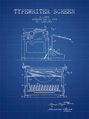 1923 Typewriter Screen Patent - Blueprint Print by Aged Pixel