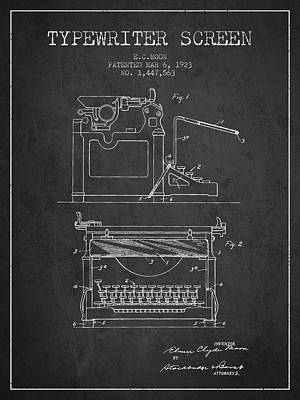 1923 Typewriter Screen Patent - Charcoal Print by Aged Pixel