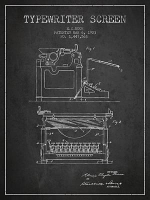 Keyboards Digital Art - 1923 Typewriter Screen Patent - Charcoal by Aged Pixel