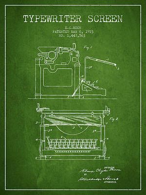 Author Drawing - 1923 Typewriter Screen Patent - Green by Aged Pixel