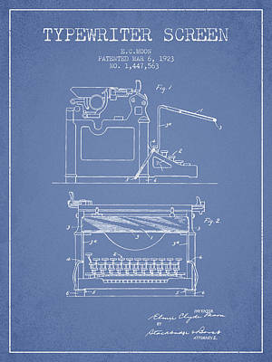 1923 Typewriter Screen Patent - Light Blue Print by Aged Pixel