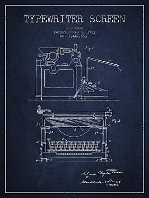 1923 Typewriter Screen Patent - Navy Blue Print by Aged Pixel
