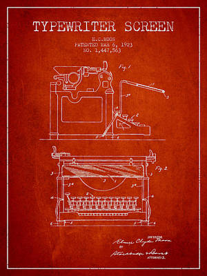 1923 Typewriter Screen Patent - Red Print by Aged Pixel