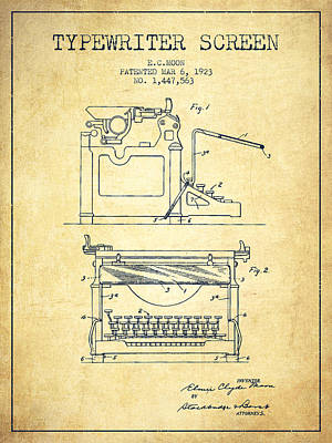 Author Drawing - 1923 Typewriter Screen Patent - Vintage by Aged Pixel
