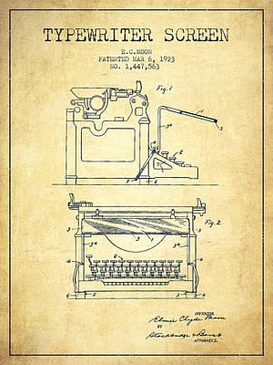 Keyboards Digital Art - 1923 Typewriter Screen Patent - Vintage by Aged Pixel
