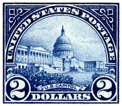 Capitol Building Painting - 1923 Us Capitol Stamp by Historic Image