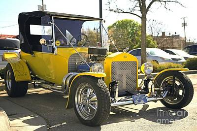 1923 Yellow Ford Model T Side Art Print by Blaine Nelson