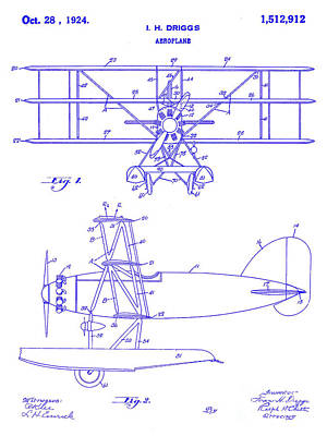 Antique Airplane Photograph - 1924 Airplane Patent Blueprint by Jon Neidert
