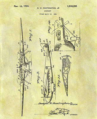Jet Mixed Media - 1924 Airplane Patent by Dan Sproul